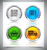Metal web buttons. Vector eps10. Stock Photos