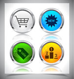 Metal web buttons. Vector eps10. Stock Images