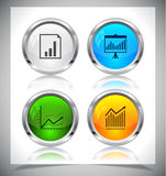 Metal web buttons. Vector eps10. Cool color shiny metal web buttons. Vector illustration Royalty Free Stock Images