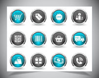 Metal web buttons. Vector eps10. royalty free illustration
