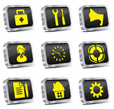 Metal web icon set (chrome version) Stock Photos