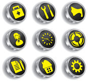 Metal web icon set (chrome version) Royalty Free Stock Photos