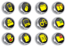 Metal web icon set (chrome version) Stock Image