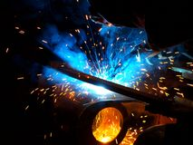 Metal welding. Photo of sparks from process of welding of metal Stock Photos