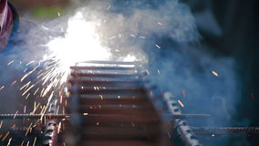 Metal welding process Sparks stock footage