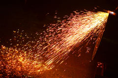 Metal welding sparks. On black background Royalty Free Stock Images