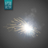 Metal Welding with sparks isolated on transparent background. Vector Stock Photos