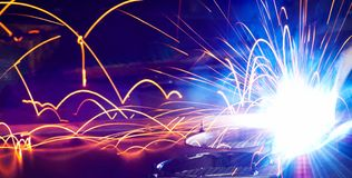 Metal Welding with sparks. Metal Welding with sparks closeup selective focus Royalty Free Stock Photos