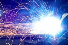 Metal Welding with sparks. Metal Welding with sparks closeup selective focus Royalty Free Stock Photo