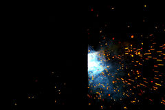Metal Welding with sparks and smoke Stock Photography