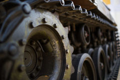 Metal wheel of army tank Stock Images