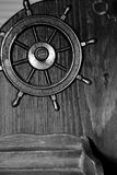 Metal wheel background. Decoration of ship wheel in black and white Royalty Free Stock Photography