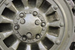 Metal wheel. A green metal wheel, circle Stock Photography