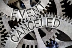 Free Metal Wheels With Event Canceled Concept Royalty Free Stock Photo - 181599145