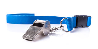 Metal whistle with blue lanyard Royalty Free Stock Photos