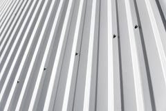 Metal white sheet for industrial building and construction. Roof sheet metal or corrugated roofs of factory building or. Metal white sheet for industrial stock image