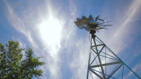 Metal windmill during fast breeze