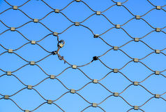 Metal wire fence protection chainlink background Royalty Free Stock Images