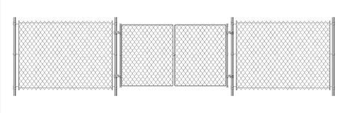 Metal wire fence. Realistic steel chain fence and gate. Vector wire security prison fence with doors isolated on white
