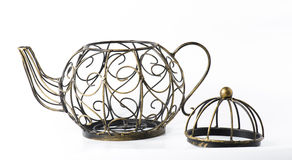 Metal wireframe teapot on white Royalty Free Stock Images