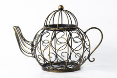 Metal wireframe teapot on white Royalty Free Stock Photography