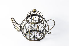 Metal wireframe teapot on white Royalty Free Stock Photos