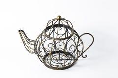 Metal wireframe teapot on white. For decoration Royalty Free Stock Photos