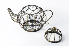 Metal wireframe teapot on white. For decoration Stock Photos