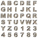 Metal and wood alphabet on white background stock photos