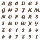 Metal and wood alphabet on white background royalty free stock photos