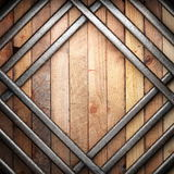Metal on wood background. Made in 3D Stock Photos