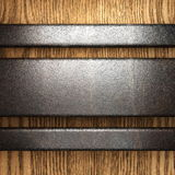 Metal on wood background. Made in 3D Royalty Free Stock Images