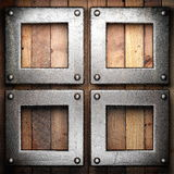 Metal on wood background. Made in 3D Stock Images