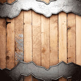 Metal and wood background. Made in 3d Stock Photos