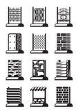 Metal, wood and brick fences Stock Image