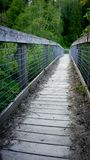 Metal and wood bridge going into the woods royalty free stock photos