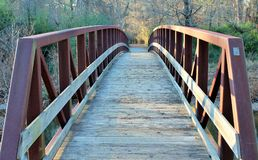 Metal and wood bridge Royalty Free Stock Images
