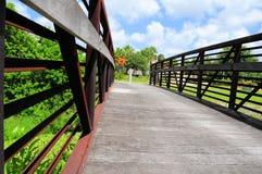 Metal & wood bridge Stock Photo