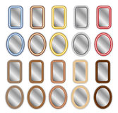 Metal and Wood Framed Mirrors. A large set of metal and wooden framed mirrors Stock Image