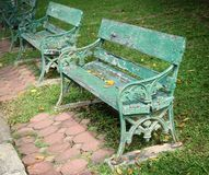 Metal and wood garden chair Stock Image