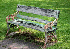 Metal and wood garden chair Royalty Free Stock Images