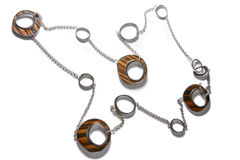 Metal and Wood Necklace. Royalty Free Stock Images