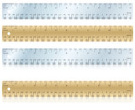 Metal and Wood Rulers. Flat and with reflection Stock Illustration