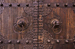 Metal and wooden ancient chinese doors Royalty Free Stock Image