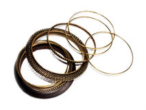 Metal and wooden bracelets in ethnic style royalty free stock images