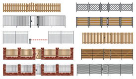 Metal and wooden fences and gates. Royalty Free Stock Images