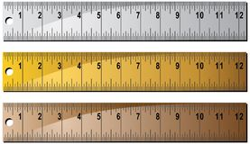 Metal or Wooden Ruler Set Stock Images