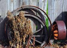 Metal and Wooden Wagon Wheel Royalty Free Stock Photography