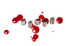 Metal word death in drops of blood Royalty Free Stock Photography