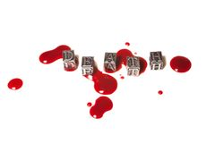 Metal word death in drops of blood Stock Image